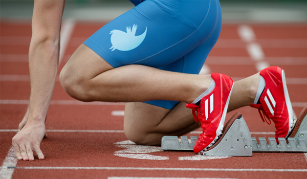 Runner with a Twitter logo on his leg