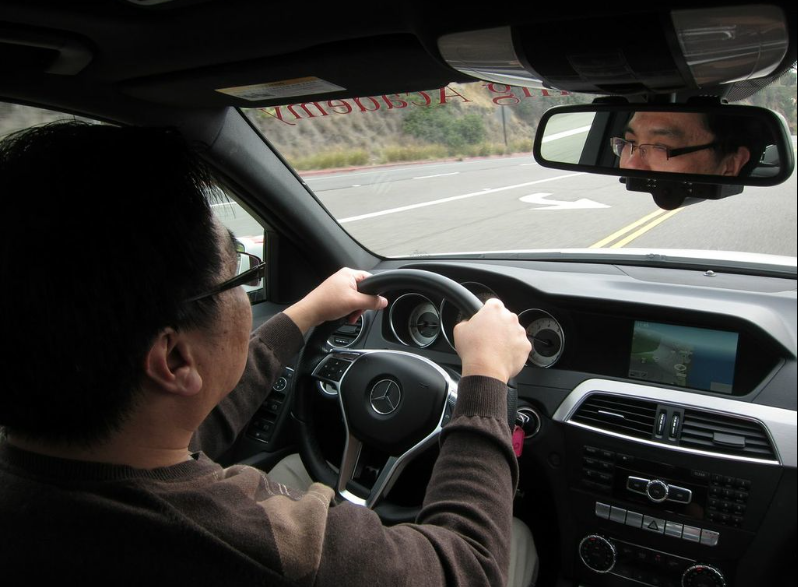 Ted Nguyen experiences the Mercedes-Benz Driving Academy with life-changing consequences.    Photo by Calvin Fleming.