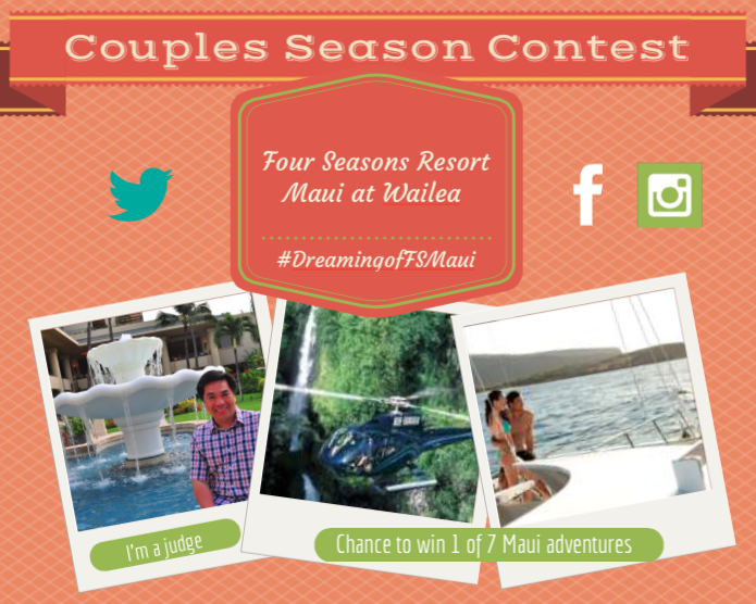 "The Four Seasons Resort Maui at Wailea is running a social media contest through July 4. Just share a photo Submit a photo on Facebook, Twitter or Instagram based around the theme of ""What makes you think of Hawaii?"" Use the hashtag #DreamingofFSMaui in the post for a chance to win one of seven Maui adventures."