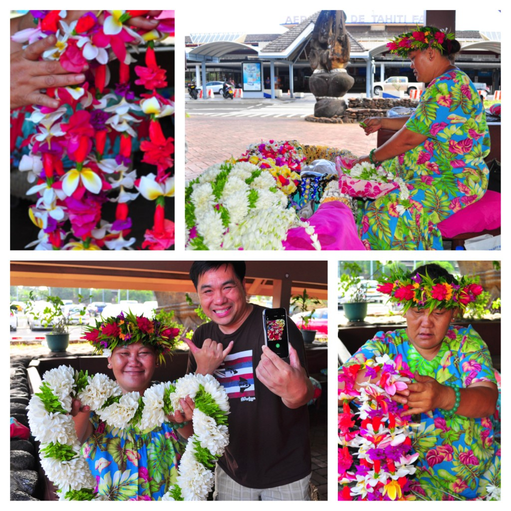 Almost everything was closed in the early hours at Tahiti's airport but smiling women making colorful leis for international visitors, including the open hearts of hospitality of Fabienne.