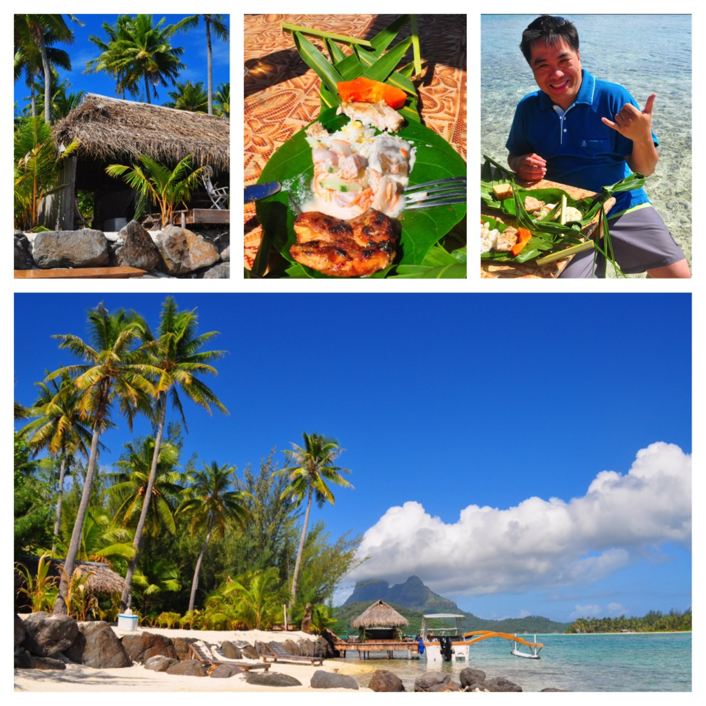 An après shark indulgence is a traditional Tahitian picnic on a private motu or  island with feet splashing about.