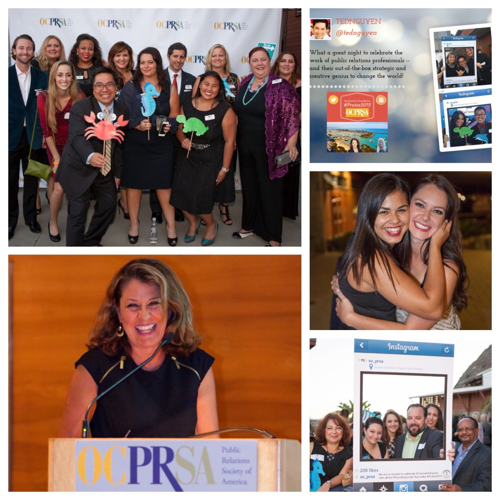 Board Directors of Orange County Chapter of the Public Relations Society of America present a meaningful Protos awards ceremony with NBC4 News Bureau Chief and Reporter Vikki Vargas.